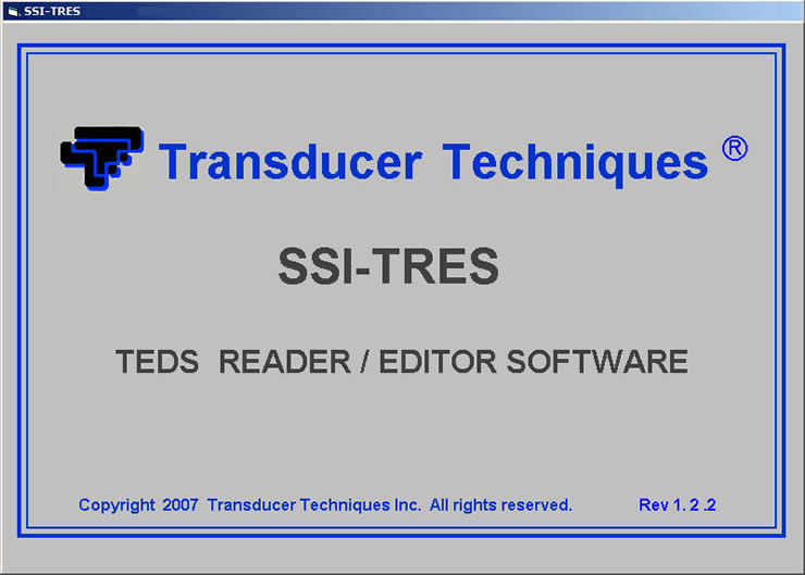 SSI-TRES TEDS Reader Editor Software Screen 1