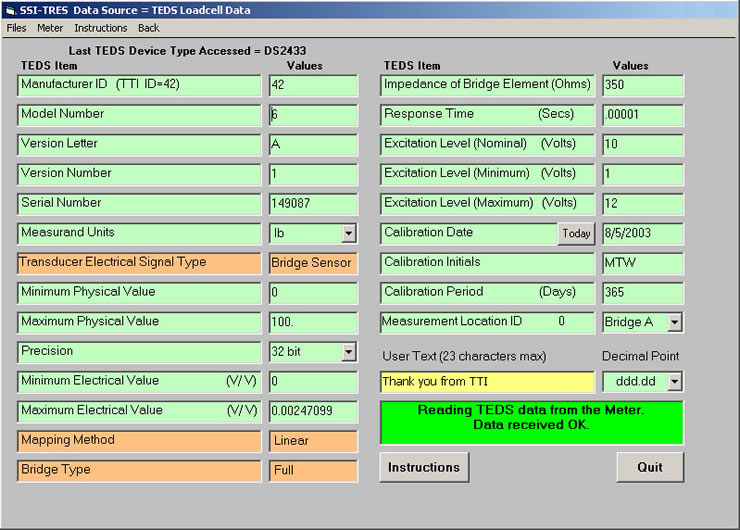 Populated IEEE 1451.4 template - SSI-TRES TEDS Reader Editor Software Screen 6