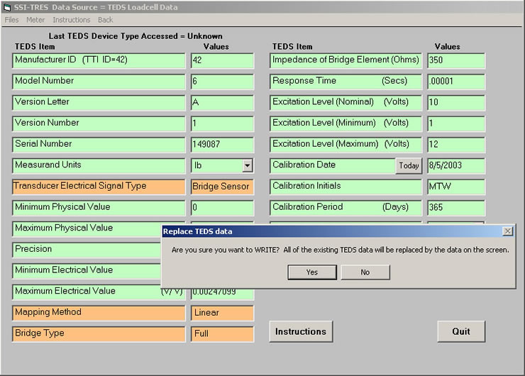 Editing a IEEE 1451.4 template - SSI-TRES TEDS Reader Editor Software Screen 7