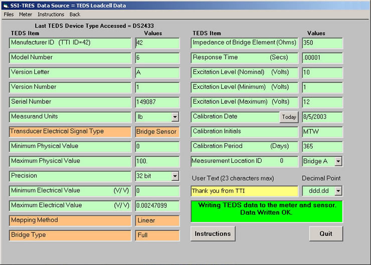 Newly Populated IEEE 1451.4 template - SSI-TRES TEDS Reader Editor Software Screen 8